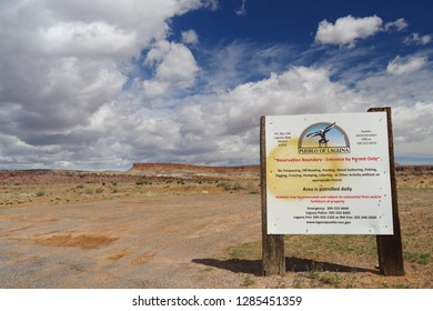 PUEBLO OF LAGUNA, NEW MEXICO, USA - APRIL 3, 2017: information road sign for the Pueblo of Laguna, a federally recognized tribe of Native American Pueblo people in west-central New Mexico, USA.
