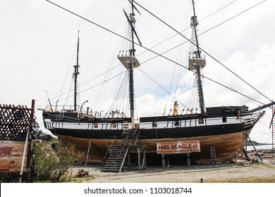 PUENTA ARENAS-NOV. 12, 2016: A replica of the ship, the Beagle, which carried Charles Darwin on his historic voyage.