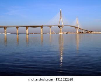 Puente de la Constitución, called La Pepa, in the bay of Cadiz, Andalusia. Spain. Europe
