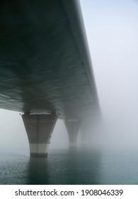 Puente de la Constitucion, called La Pepa, in the fog in the bay of Cadiz capital, Andalusia. Spain. Europe.
