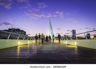 "The ""Puente de la Mujer"", in Buenos Aires, at blue hour"