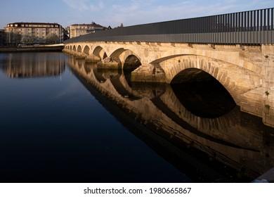 Puente del Burgo, medieval bridge, built on a previous one of Roman origin, that crosses the Lerez river in the city of Pontevedra (Spain), on the way to the Portuguese Camino de Santiago
