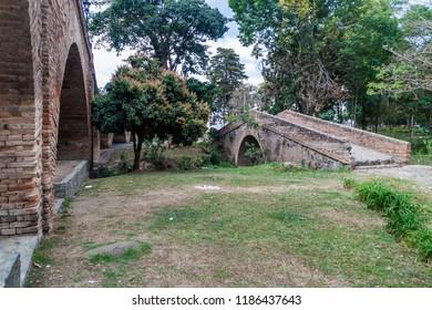 Puente del Humilladero (left) and Puente de la Custodia (right) bridges in colonial city Popayan, Colombia