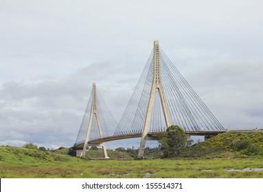 Puente Internacional suspension bridge across the border between Spain & Portugal