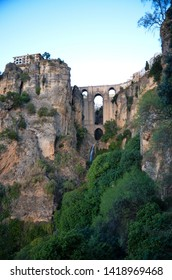 Puente Nuevo (Nuevo Bridge) in the dusk, Ronda, Andalusia, Spain