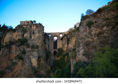 Puente Nuevo (Nuevo Bridge) in the dusk, Ronda, Andalusia, Spain, blur