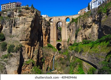 Puente Nuevo, Bridge over the Tajo Gorge in Ronda (one of the famous white villages), Spain