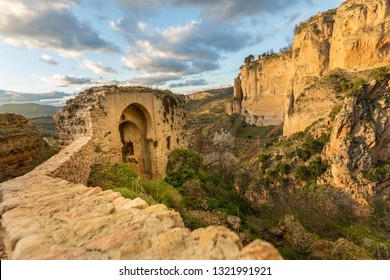 Puente Nuevo and the city of Ronda at dusk, El Tajo Gorge, Malaga Province, Spain