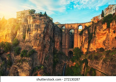 The Puente Nuevo New Bridge over Guadalevin River in Ronda, Andalusia, Spain. Popular landmark in the evening