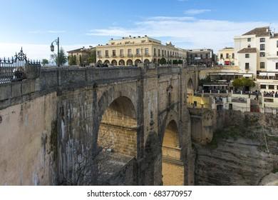 The Puente Nuevo New Bridge over Guadalevin River in Ronda, Andalusia, Spain. Popular landmark