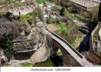Puente San Miguel (Bridge of Saint Michael) on Guadalevin River in Ronda, Andalusia, Spain