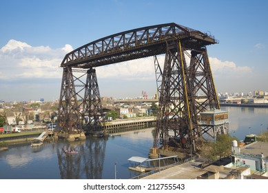 Puente Transbordador (transporter bridge from 1914) over the Riachuelo river, in La Boca neighbourhood of Buenos Aires, Argentina.