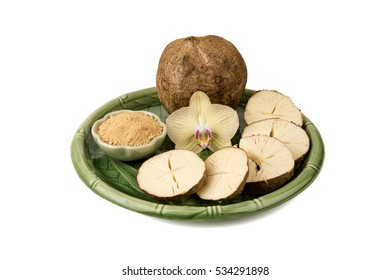Pueraria mirifica or White Kwao Krua (Pueraria candollei Graham ex Benth. Var mirifica) fruits and powder, Thailand herb has medicinal properties.