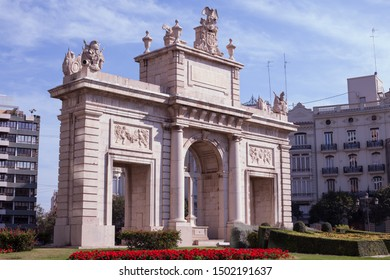 Puerta de la Mar in Valencia, Spain. It is a square in the city of Valencia