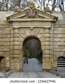 Puerta de las Granadas - Gate of the Pomegranates outside the Alhambra Grounds in Granada, Spain