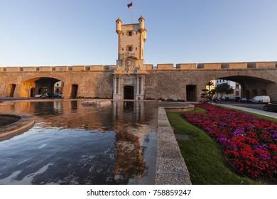Puerta de Tierra in Cadiz. Cadiz, Andalusia, Spain.