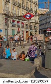 Puerta del sol,Madrid,Spain;September 16 2018: Image of the subway station of Sol with people coming and going and background old buildings in Puerta del Sol, Madrid, Spain