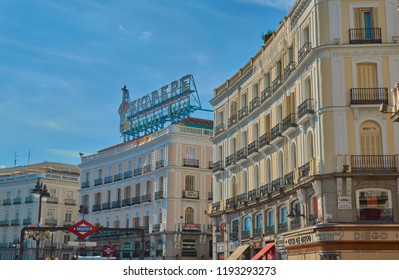 Puerta del sol,Madrid,Spain;September 16 2018:Views from the Sol subway station of several streets of central Spain in the central Puerta del Sol, with old buildings and ornaments in Madrid, Spain