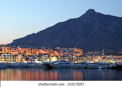 Puerto Banus at dusk, marina of Marbella, Spain