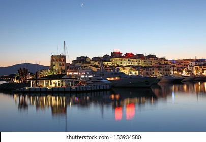Puerto Banus at dusk, the marina of Marbella, Costa del Sol, Andalusia, Spain