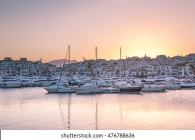 Puerto Banus, Marbella, Spain. - August 12, 2016: Puerto Banus, It was built in 1970 by Jose Banus. More commonly known as Puerto Banus is one of the most exclusive marinas in Spain and Europe.