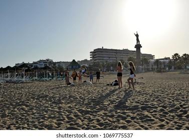 Puerto Banus, Marbella, Spain - May 22, 2010: Beach of Puerto Banus in Marbella, Costa del Sol, Málaga province, Spain