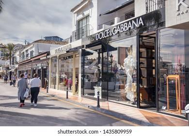 Puerto Banus, Marbella / Spain - November 02 2018 : Dolce & Gabbana Stores in the Famous Puerto Banus Bay, Luxury and famous location in South of Spain