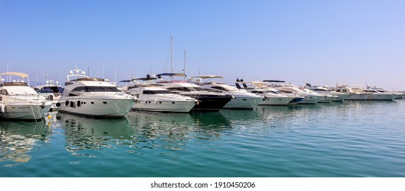 Puerto Banus Marbella Spain October 15 2019. Speedboats docked in the harbor of Puerto Banus. Well known for the luxury boats that visits the city. Clear blue sky in this small town in southern Spain.