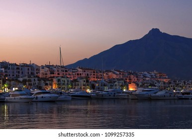 Puerto Banus marina at sunset