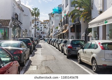 Puerto Banus, Spain - 12 December 2017: Fashionable Puerto Banus at Costa del Sol, Marbella.