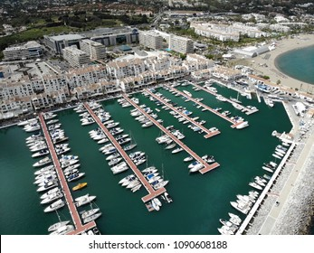 PUERTO BANUS, SPAIN - APRIL 25, 2018: The luxury and jetset harbour and marina in Puerto Banus near the city of Marbella