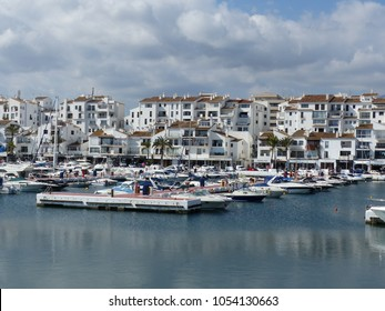 Puerto Banus, Spain / Spain - March 2018: luxury marina and town of Puerto Banus by Marbella