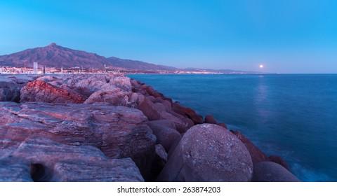 Puerto Banus twilight night at Marbella, Spain