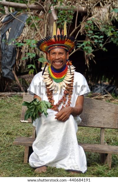 PUERTO BOLIVAR, ECUADOR - CIRCA MAY 2016: Siona shaman in the Cuyabeno Wildlife Reserve