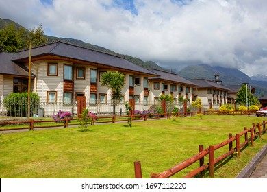 Puerto Chacabuco, Chile, 02/18/2020, hotel.  Puerto Chacabuco is a small, cozy town 1,600 km South of Santiago that lives on fish farms. The main attraction of these places is the beautiful nature.