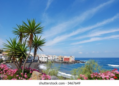 Puerto Cruz beach, tenerife canary islands, spain