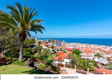 Puerto de la Cruz cityscape from Taoro park, Tenerife, Canary islands, Spain