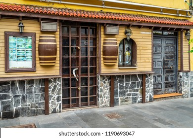 PUERTO DE LA CRUZ, SPAIN - JULY 19, 2018: Streets of a popular tourist town on the island of Tenerife, Canary Islands.