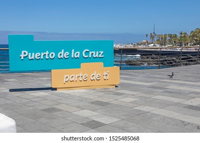 Puerto De La Cruz, Spain, August, 20 2019: welcome tourist sign