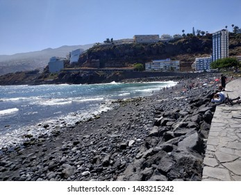 PUERTO DE LA CRUZE, SPAIN - AUGUST 20, 2019: view on local beach at the summer