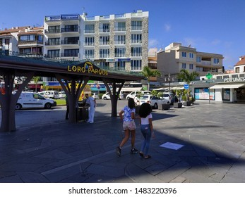 PUERTO DE LA CRUZE, SPAIN - AUGUST 20, 2019: view on local streets and buildings at the summer