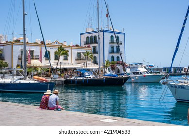 PUERTO DE MOGAN, GRAN CANARIA, CANARY ISLANDS - MAY 12, 2016: Harbor area of Puerto de Mogan, a small fishing port and resort on Gran Canaria Island, Spain