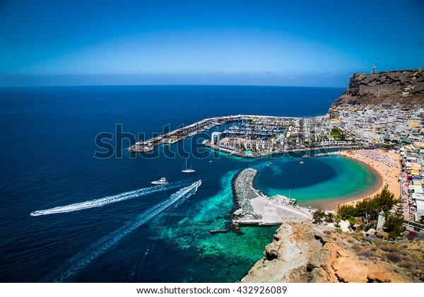 Puerto de Mogan Stadt an der Küste von Gran Canaria, Spanien.