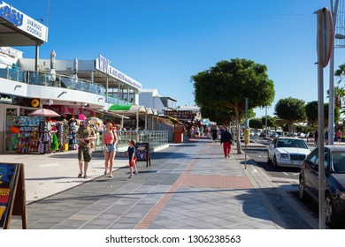 PUERTO DEL CARMEN, LANZAROTE - 23 December 2018. Shops and people in Puerto del Carmen in Lanzarote, Canary islands, Spain, selective focus