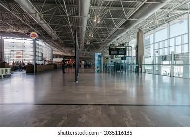Puerto del Rosario, Fuerteventura, Canary Islands, Spain - February 18, 2018:  Boarding gates at Fuerteventura airport