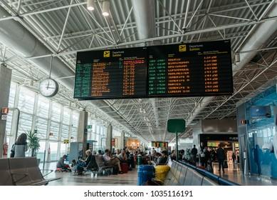 Puerto del Rosario, Fuerteventura, Canary Islands, Spain - February 18, 2018:  Departures board at Fuerteventura Airport