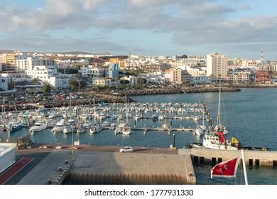 Puerto del Rosario, Fuerteventura, Canary Islands, Spain - December 13, 2019: Ships at harbor