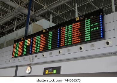 Puerto del Rosario, Fuerteventura, Canary Islands, Spain - October 26, 2017:  Departures board at Fuerteventura Airport (FUE / GCFV), Spain.