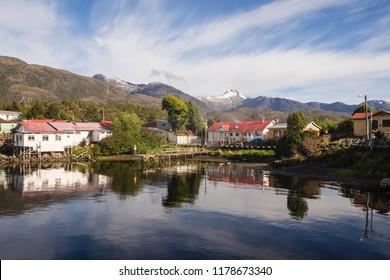 Puerto Eden in Chilean fiords, Patagonia.