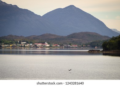 Puerto Eden in Chilean fiords, Patagonia. Detail of the village of Puerto Eden from the sea in south of Chile, Pacific Ocean. Pcific ocean